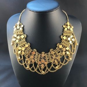 Vintage gold bib necklace